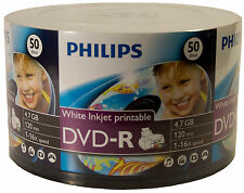 100 Philips White inkjet printable 16X 4.7GB DVD-R free Expedited Shipping