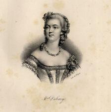 Portrait de Madame du Barry Lithographie originale XIXème