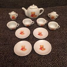 Collectible Ceramic Mini Tea Set With Bears 11 Pieces + 3 Tops - Battat