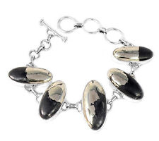 Pyrite In Magnetite 925 Sterling Silver Bracelet Jewelry PIMB9