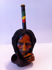 HANDMADE TOBACCO PIPE Bob Marley Thinkng  Style.
