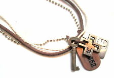 Mens ANTIQUE SKELETON KEY, CROSS, TAGS Leather Ball Chain Surfer Choker NECKLACE