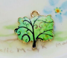 #1259M Enamel Tree Charm enameled Green Earth Maple Gold Plated Findings New