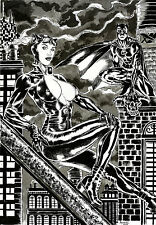 CATWOMAN AND BATMAN by ANDREW COTINGUIBA - ART PINUP Drawing OriginaL