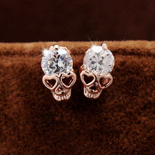 Women Lady Rose Gold Tone Simulated Diamond Skull Pierced Stud Earrings Jewelry