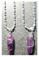 "2 STAINLESS STEEL 18"" BALL CHAIN NECKLACE W AMETHYST CRYSTAL PENDANT 563 jewelry"