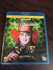 ALICE IN WONDERLAND 3D 4 Disc BLU-RAY 3D + BLU-RAY + DVD + DC Discs SPOTLESS