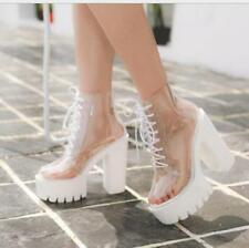Womens Transparent Chunky High Heels Clear Ankle Boots Lace Up Platform Shoes sz