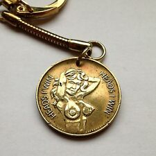 Heads I Win Tails You Lose Adult peepshow Coin Token keychain charm pendant