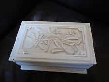 PRETTY, VINTAGE HAND CARVED AUSTRIAN JEWELLERY BOX WITH SHABBY CHIC WHITE FINISH