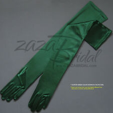 "23.5"" Long Shiny Stretch Satin Dress Gloves Opera Length 16BL - Various Colors"