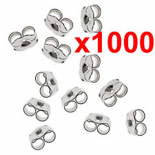 x1000 earrings silver metal friction butterfly stud stoppers findings post back
