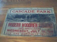 Cascade Park New Castle, PA July 15, '08 Poster Advertisement 1908