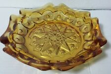 "Vintage LE Smith Amber Moon and Stars 8.5"" Six-Sided Pressed Glass Ashtray 4288"