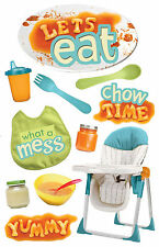 Paper House LET'S EAT 3-D Multi-Layered Stickers scrapbooking BIB SIPPY CUP JARS