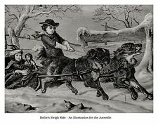 DOGS PULL CHILDREN'S DOLLY SLED SLEIGH, 1868 VICTORIAN ART PRINT