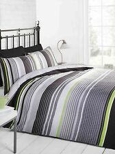 Striped Duvet Cover Bed Set & Pillowcase Quilt Bedding Single Double King Size