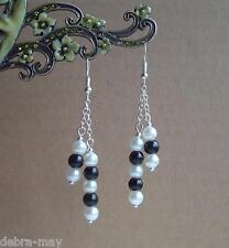 Negro Y Blanco Perla De Cristal Plata Plateado Pendientes Colgantes Cadena