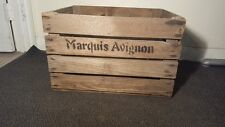 3 x MARQUIS AVIGNON OLD VINTAGE FRENCH WOODEN FARM APPLE CRATE BUSHELL BOX