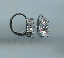 RHODIUM PLATED 1 CARAT TW EACH DOUBLE STONE CZ LEVERBACK EARRINGS