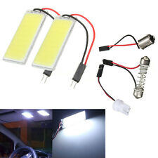 2x Pure White T10 BA9S 36 COB LED Interior Panel Light Festoon Map Dome Adapter