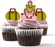 ✿ 24 Edible Rice Paper Cup Cake Toppings, Cake decs - Luggage, Bon Voyage ✿