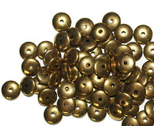 3x8mm Rondelle Disc Spacer Goldtone Old Gold Metalized Metallic Beads