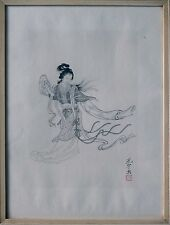 Lithographie, Japan, China, art print of a young lady, framed, signed and sealed