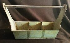 3 SECTIONED METAL GALVANIZED TOTE BOX PRIMITIVE GARDEN ROOM DECOR COUNTRY