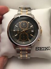 New Seiko SKS449 Chronograph Grey Dial Two Tone Stainless Steel Men's Watch-R3
