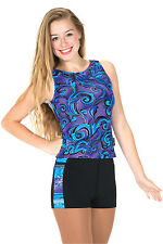 New Figure Skating Top Jerrys Whirlpool Purple Turquoise  Size 10-12 CL
