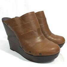 Diane Von Furstenberg Platform Wedge Clogs Brown Leather Wooden Heel Size 8.5 M