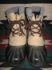 EXCEPTIONAL WOMENS BLACK & TAN SOREL TUNDRA WATERPROOF INSULATED SNOPAC BOOTS 7M