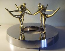 Vintage ART DECO Nude Ballet Dancers, Ballerina Figural BRASS & CHROME Sculpture