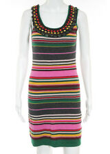 CATHERINE MALANDRINO Multicolored Cashmere Sleeveless Beaded Sweater Dress M