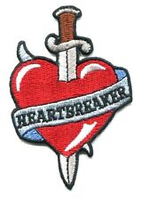 HEARTBREAKER heart dagger EMBROIDERED IRON-ON PATCH *Free Shipping jenna jameson
