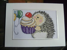 "BIRTHDAY OCCASION MARGARET SHERRY HEDGEHOG COMPLETED CROSS STITCH CARD 8"" X 6"""