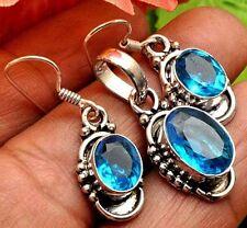 Faceted Paris Blue Quartz zopaz Silver plated Pendant Earrings Set (AE9253)