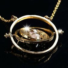 Trendy Retro Rotating Time-Turner Gold Hourglass Pendant Chain Necklace QT