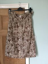 Strapless Short Snake Skin Pattern Dress Size 14 Brown And Cream Peep Hole Front