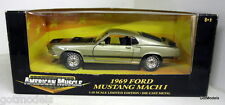 Ertl 1/18 Scale 32511 1969 Ford Mustang Mach 1 Gold Blk Hood Diecast Model Car