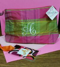 """SILK PLAID MAKE-UP BAG W/ EMBROIDERED """"A"""". ALSO, INITIALED TAG FOR BAG/LUGGAGE"""