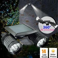 14 LED Dual Head Solar Power PIR Motion Sensor Security Lamp Spot Light Garden