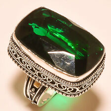 """Very Rare CHROME DIOPSIDE GEMSTONE VINTAGE STYLE 925 STERLING SILVER RING """"8"""""""