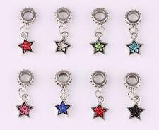 10pcs mix LAMPWORK CZ big hole spacer beads fit Charm European Bracelet B598