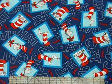 "Dr Seuss ""The Cat In The Hat 2"" Cats Navy  Fabric"