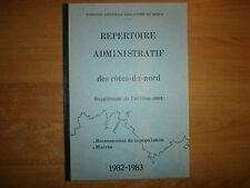répertoire administratif des côtes du nord 1982-1983
