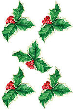 Holly Berry Leafs Peel n Stick Vinyl Decal Stickers Wallies Christmas Decorating