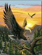 "DIY Paint By Number 16""*20"" Kit Cool Eagle On Canvas With Nice Box"