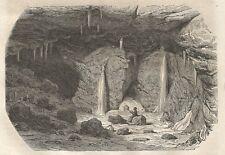 A4696 Vue intérieure de la glaciere de Vergy - Incisione Antica del 1864